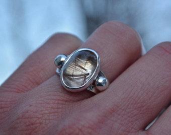 Rutilated Quartz Ring, Rutilated Quartz, Size 6, Sterling silver, quartz ring, quartz, classic Jewelry, Artisan jewelry, one of a kind