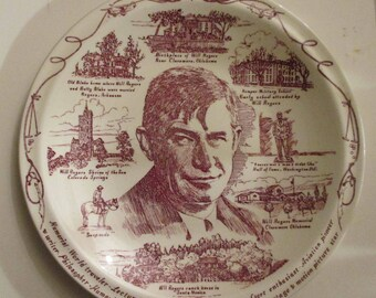 Will Rogers  Collector's Ceramic Plate by Vernon Kilns USA