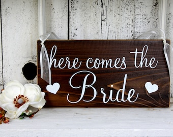 HERE COMES the BRIDE 5 1/2 x 11 Rustic Wedding Signs