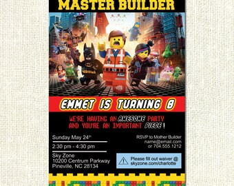 The Lego Movie Theme Printable Boy Birthday Party Invitation Custom