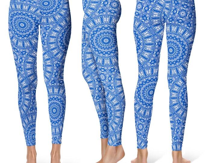 Cobalt Leggings Yoga Pants, Printed Yoga Tights for Women, Blue and White Mandala Pattern