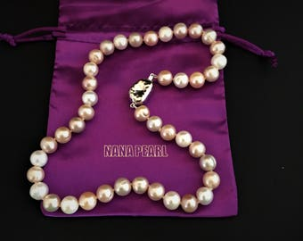 A-qualitiy pink freshwater pearl necklace, pearl necklace, wedding pearls, wedding jewelry