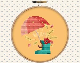 Cute autumn cross stitch pattern pdf - instant download - modern cross stitch - floral cross stitch -