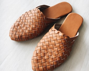 The Mia handmade woven leather loafer - dark tan