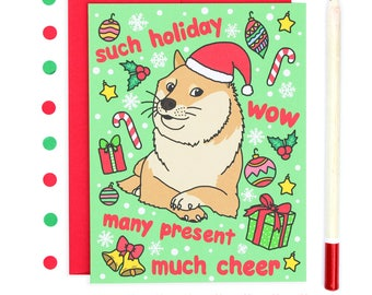 Funny Christmas Card, Doge Christmas Card, Shiba Inu Holiday Card, Funny Holiday Card, Meme Christmas Card, Meme Card, Doge Meme Card, Doge