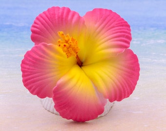 Pink Hibiscus Hair Clip, 2 3/4 Inch,  Hair  Flower, Beach Wedding, Hibiscus, Foam Flower
