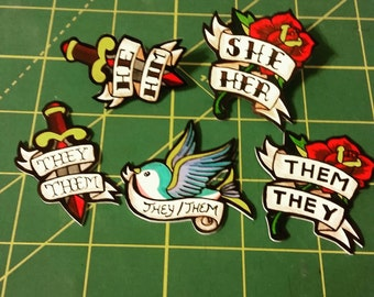 American Traditional Tattoo Style  Pronoun Pin