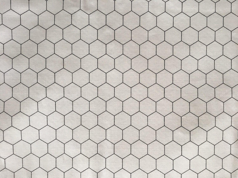 Classic Moda Black and White Chicken Wire Hexagon Tile Fabric ...