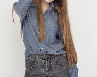 VINTAGE Blue Long Sleeve Retro Button Downs Shirt
