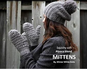 ALPACA MITTENS, soft alpaca blend mittens, chunky soft mittens, winter mittens, 12 colors available, women and teens, soft and chunky,