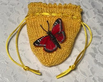 Delicate Butterfly Pouch, Butterfly, Any Occasion, Bridesmaid's Accessory, Quinceañera Accessory, Wedding Party, Red and Black, (Medium)