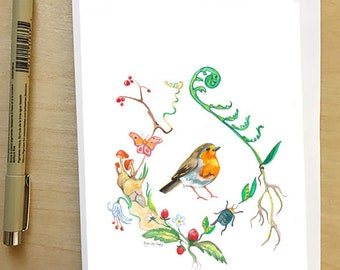 English Robin, greeting card by Abigail Gray Swartz, 5x7 floral and fauna