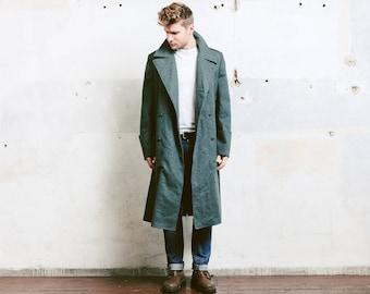 MILITARY Greatcoat . Grey Wool Winter Overcoat Army Coat Jacket Men Vintage Coat Swedish Army Soldier Blazer . size Large