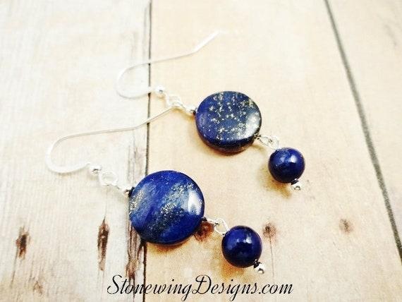 Lapis Earrings, Lapis Lazuli Earring, Gemstone Earrings, Blue Stone Earrings, Natural Lapis, Sterling Silver, Blue Dangle Earrings, Mom Gift