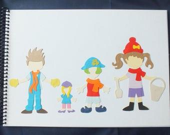 Handmade Decorated A4 Scrapbook Photo Album Child's Workbook FAMILY THEME characters dress ups