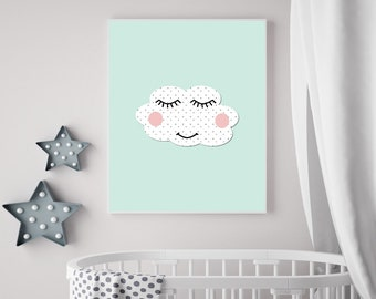 Nursery Print, Cloud Nursery Art Print, Printable Nursery Wall Art, Baby Room Cloud Wall Art, Kids Wall Print, Mint Nursery Decor