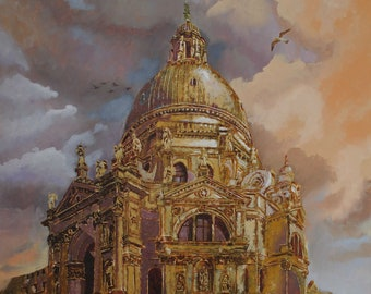 "Oil painting ""The sky of Venice"".Italy.Venice.Cathedral.Temple"