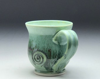 Ceramic tea cup, hand thrown mug, mint green glaze, small coffee cup, wheel thrown pottery, round mug porcelain clay, by Gabriel Kline