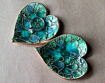 TWO Ceramic Ring Dishes  ring holder edged in gold Peacock green