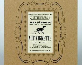 Decorative mat for art and photos, picture frame mat, standard frame size, diy, 3 KRAFT 5X7, letterpress, Mat and Frame Photos, home decor,