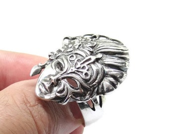 Mask Ring in Sterling Silver, Handmade Silver Ring, 925 Sterling Silver Ring, Silver Rings