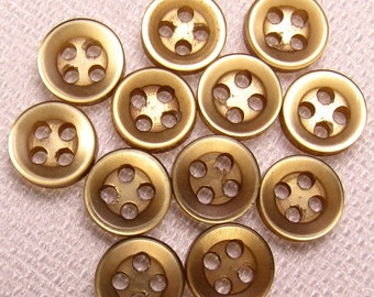 "Bronze-Brown: 5/16"" (8mm) Medium Brown Buttons - Set of 12 New / Unused Matching Buttons"