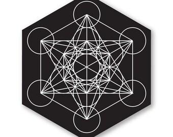 "1 ""Metatron's Cube"" Vinyl Bumper Sticker - Indoor or Outdoor - FREE SHIPPING"