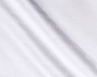 New ~ Love Metallic Love Words White Color ~ Love Collection by Tara Moss ~ Robert Kaufman Fabrics ~ Quilting Cotton