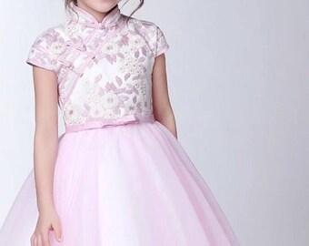 Pink Cheongsam Tutu Dress for Kids Chinese New Year
