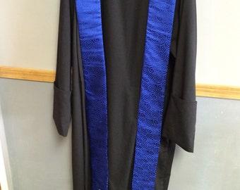 Clergy stole handmade blue swirl fabric, gold embellishments, *See Description*