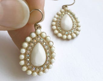 1990s Does 1950s Cream Stone Teardrop Earrings with Iridescent Crystals - Elegant