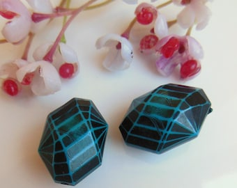 set of 2 blue and black plastic beads
