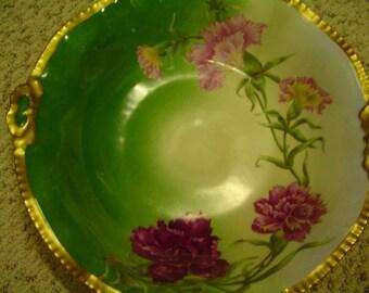 LIMOGES Bowl*Heavy Gold Gilt*Handled Bowl*Green Dark Rose Pink Florals*Display Cabinet Bowl*Hand Painted