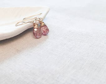 Strawberry Quartz Drop Earrings - 14k Yellow Gold Fill Wire Wrapped Red Speckled Quartz Drops Medical Gift Blood Spatter Slide Gemstone