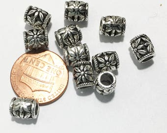 25 pcs antique Silver Drum spacer beads 8x7mm,  3.5mm hole , antique silver Barrel spacer beads, antique silver alloy spacer beads