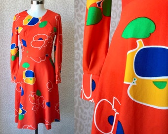 Bright orange dress size S/M, 70's abstract print dress, tailor made dress, 70's fashion, womens knee dress, neon colour dress