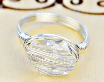 Clear Swarovski Crystal Wire Wrapped Ring- Sterling Silver, Yellow or Rose Gold Filled Wire -Size 4 5 6 7 8 9 10 11 12 13 14 1/4 1/2 3/4
