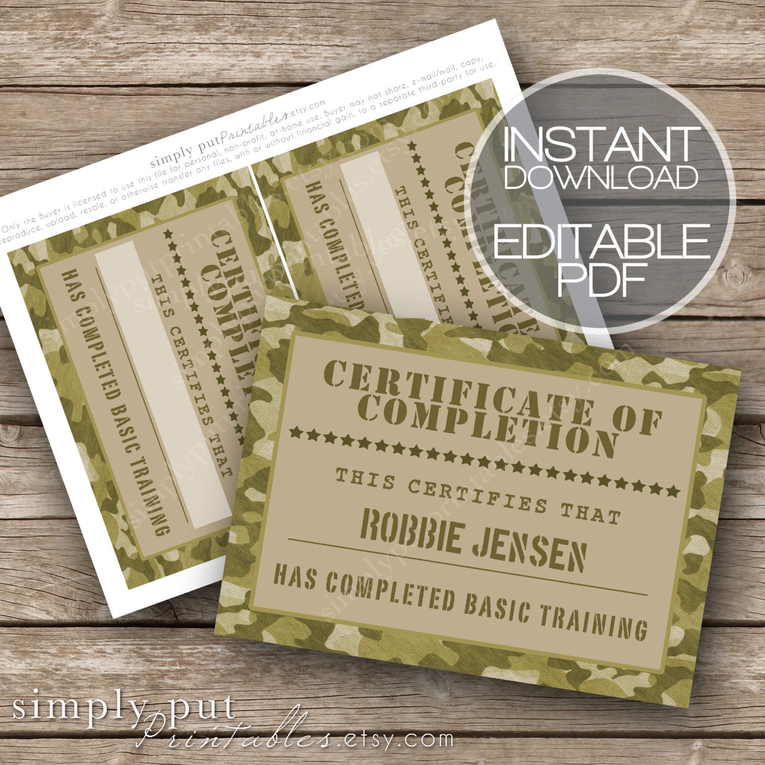 Army camo certificate of completion printable editable basic zoom 1betcityfo Choice Image