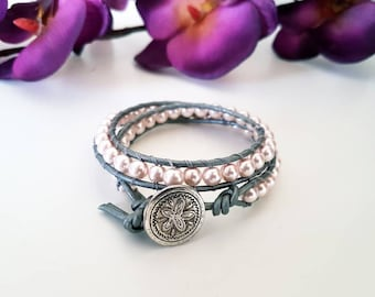Handmade women's double wrap pearl bead bracelet - rustic coin button charm. Classic, Birthday, Anniversary, Prom gift