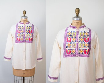 1960s Embroidered Blouse / 60s Button Up Shirt