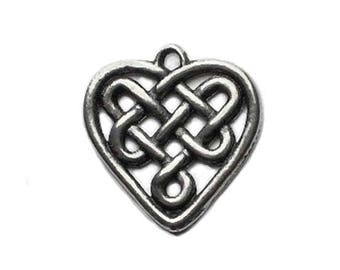 Small Celtic Heart Charm Handmade Pewter Lead-Free Nickel-Free from Wales