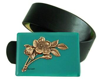 Belt Buckle Art Nouveau Floral Design Inlaid in Hand Painted Teal Enamel Belt Buckle for Snap Belts Custom Colors Available