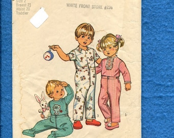 1970's Simplicity 5051  Footie Pajamas for Little Kids Size 2