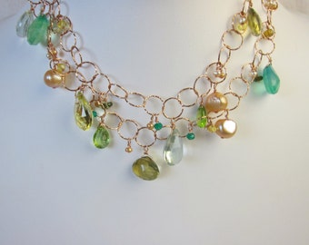 Green Amethyst, Peridot, Green Onyx, Apatite, Garnet, Topaz, Pearl Handmade Necklace with Sterling Silver Rose Gold Plated Chain
