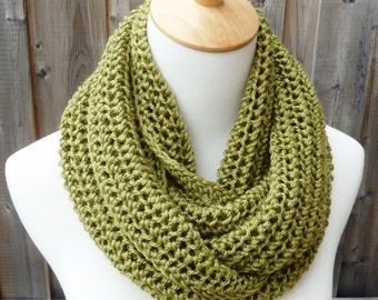 ON SALE - Leaf Green Infinity Scarf - Green Infinity Scarf - Circle Scarf - Ready to Ship