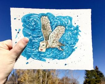 barn owl // owl painting, wizard school, magic school, bird lover gift, owl lovers gift, magical watercolor, watercolor owl