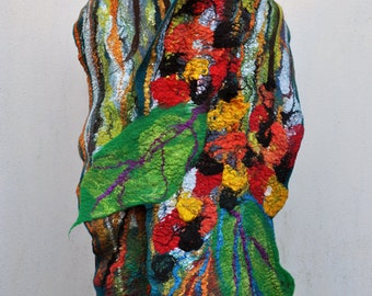 Felted scarf , silk, wool, nuno felt, felt, felted, gift, fibre art, green, brown, red, orange, black,, yellow, white