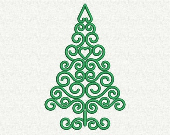 Swirly Christmas Tree embroidery design, Christmas machine embroidery design, Christmas Tree Embroidery Pattern, 8 Sizes, Instant download