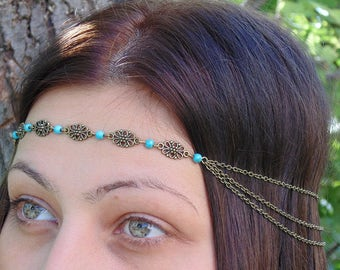 Chain Headpiece- chain headdress head chain. Bronze Headband.Turquoise Headband.Boho Hair Chain.Hair Jewelry .Indian and festival style