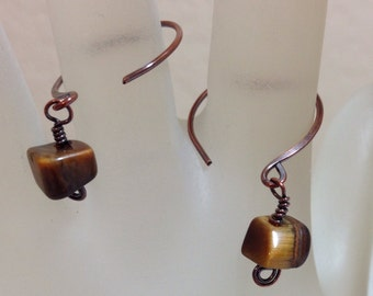 Tiger Eye Antique Copper Hoop Earrings 1.25 Inches Long Hammered Copper Hoops One of a Kind Previously 25 Dollars ON SALE